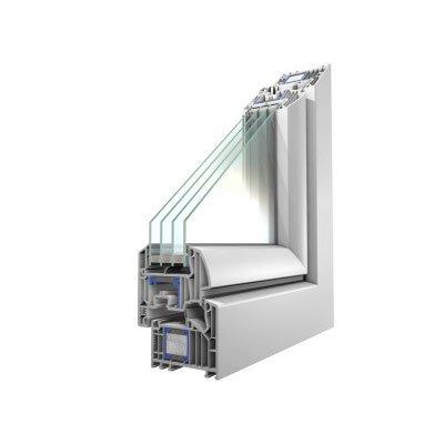 Sezione pvc da 82 mm 4 vetri lesizza serramenti for Prezzi serramenti in pvc