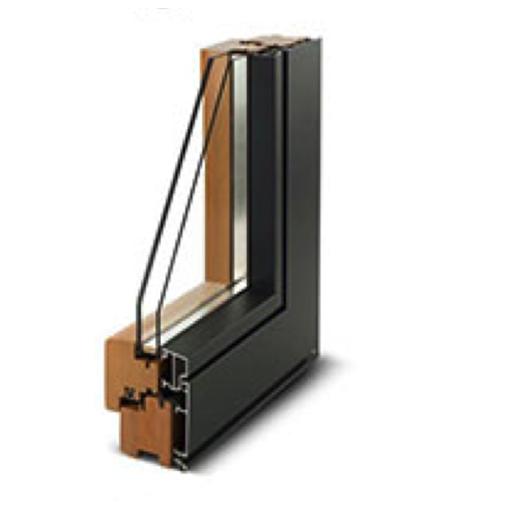 Sezione legno alluminio 85mm doppio vetro