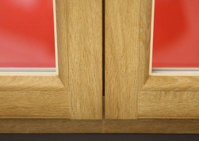 Particolare saldatura a 90 gradi come nel serramento in vero legno